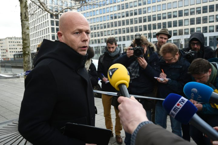"""2016-04-07 09:53:54 Belgian lawyer Sven Mary, who is representing Salah Abdeslam, the sole surviving suspect in the November 13 Paris attacks, speaks to the press as he leaves the council chamber in Brussels on April, 7 2016. Extraditing Paris terror suspect Salah Abdeslam from Belgium to France is likely to take """"several weeks,"""" as investigators question him about a shootout with police in Brussels last month, his lawyer Sven Mary said on April 7.  / AFP PHOTO / JOHN THYS"""