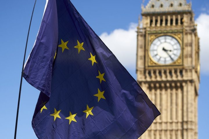 "2016-07-02 15:23:00 A European flag is flown in front of The Elizabeth Tower which houses the ""Big Ben"" bell in the Palace of Westminster, as thousands of protesters gather in Parliament Square as they take part in a March for Europe, through the centre of London on July 2, 2016, to protest against Britain's vote to leave the EU, which has plunged the government into political turmoil and left the country deeply polarised. Protesters from a variety of movements march from Park Lane to Parliament Square to show solidarity with those looking to create a more positive, inclusive kinder Britain in Europe. / AFP PHOTO / Niklas HALLE'N"