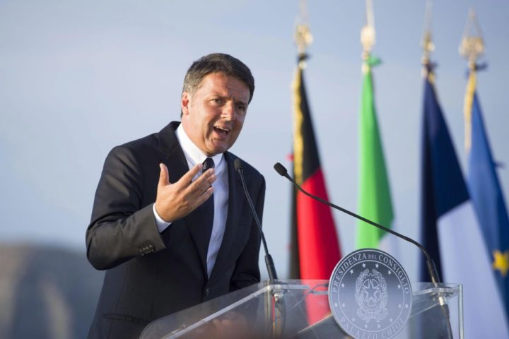 2016-08-22 17:15:57 epa05507049 A handout picture made available by Chigi Palace Press Office on 22 August 2016 shows Italian Prime Minister Matteo Renzi during a press conference at the end of a meeting on the Italian military ship 'Garibaldi' near Ventotene Island, Tirreno sea, Italy, 22 August 2016. The leaders of Italy, France and Germany went to one of the birthplaces of European unity in a symbolic bid to relaunch the European project following Britain's decision to leave the EU. EPA/TIBERIO BARCHIELLI / CHIGI PALACE PRESS OFFICE / HANDOUT HANDOUT EDITORIAL USE ONLY/NO SALES HANDOUT EDITORIAL USE ONLY/NO SALES