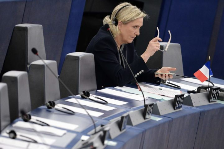 2016-10-26 08:47:17 French Front National (National Front - FN) far-right party's President, European MP and candidate for the 2017 French Presidential elections Marine Le Pen attends a debate on the conclusions of the European Council meeting on October 20-21 at the European Parliament in Strasbourg, eastern France, on October 26, 2016. / AFP PHOTO / FREDERICK FLORIN
