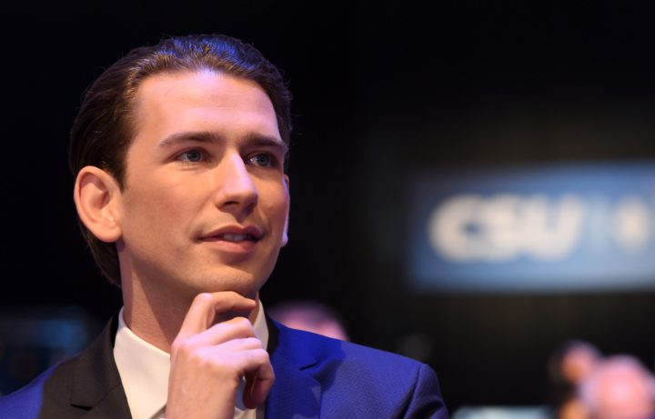 2016-11-04 12:36:35 Austrian Foreign Minister Sebastian Kurz follows the party congress of the German Christian Social Union Party (CSU) in Munich, southern Germany, on November 4, 2016. / AFP PHOTO / CHRISTOF STACHE