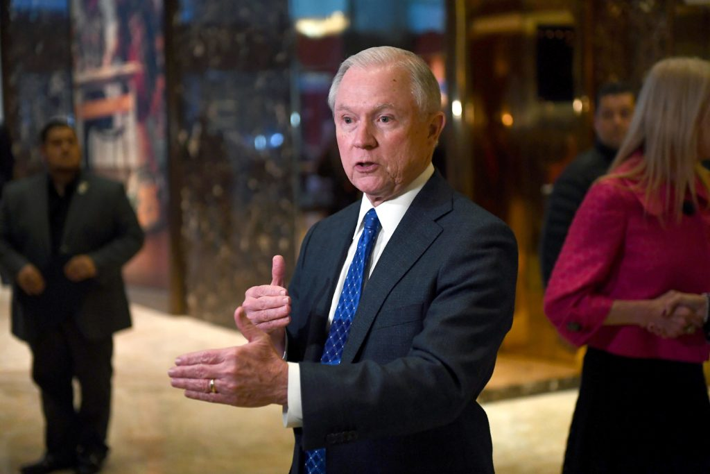2016-11-17 15:46:59 US Senator Jeff Sessions of Alabama talks to the media at the Trump Tower in New York on November 17, 2016. President-elect Donald Trump has chosen Jeff Sessions, a conservative senator who was one of his early backers in the race for the White House, to be attorney general, US media reported November 18, 2016. / AFP PHOTO / Jewel SAMAD