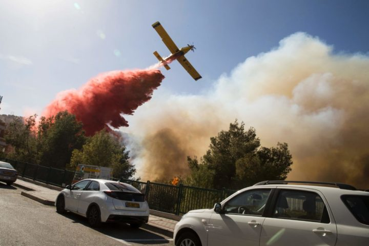 2016-11-24 10:00:04 An Israeli firefighter plane helps extinguish a bushfire in the northern Israeli port city of Haifa on November 24, 2011. Hundreds of Israelis fled their homes on the outskirts of the country's third city Haifa with others trapped inside as firefighters struggled to control raging bushfires, officials said. / AFP PHOTO / Jack GUEZ