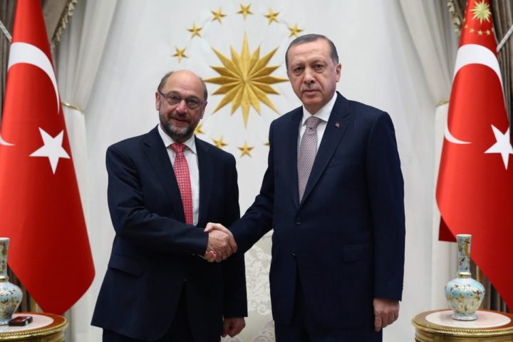 "2016-09-01 19:03:00 A handout picture taken an realeased on September 1, 2016 by Turkey's Presidential Press Service shows Turkish President Recep Tayyip Erdogan (R) shaking hands with President of the European Parliament, Martin Schulz (L) during their meeting at the Presidential Complex in Ankara. Turkish Prime Minister Binali Yildirim on September 1, 2016 insisted his country would not relax its contested anti-terror laws, a key condition laid down by the European Union for giving Turks visa-free access to the bloc. Yildirim pointed to the series of terror attacks that have rocked Turkey in the past year in telling visiting EU Parliament chief Martin Schulz the government would maintain its hardline stance. / AFP PHOTO / KAYHAN OZER / RESTRICTED TO EDITORIAL USE - MANDATORY CREDIT ""AFP PHOTO / KAYHAN OZER / TURKEY'S PRESIDENTIAL PRESS SERVICE- NO MARKETING NO ADVERTISING CAMPAIGNS - DISTRIBUTED AS A SERVICE TO CLIENTS"