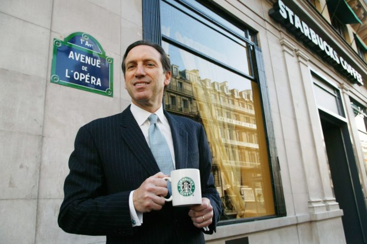 1899-12-30 00:00:00 Howard Schultz, the President of Starbucks Coffee Company opens his first cafe in Paris, Thursday 15 January 15, 2004. Starbucks has finally arrived in the country that likes to think it invented the cafe, Almost six years after it began establishing itself in Europe í starting with Britain, Switzerland and Austria, Starbucks Corp. inaugurates its first Paris store on Thursday, with Spanish partner Grupo VIPS. EPA/MEIGNEUX FRANCE OUT