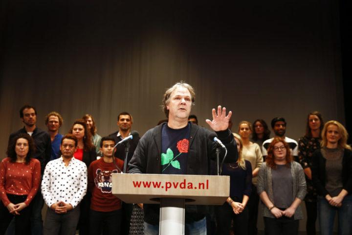 2016-12-09 00:00:00 AMSTERDAM - PvdA-partij voorzitter Hans Spekman tijdens de uitslag van de PvdA-lijsttrekkersverkiezing. ANP KOEN VAN WEEL