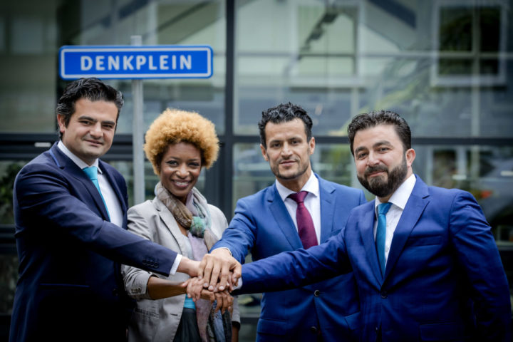 2016-05-30 13:59:45 ROTTERDAM - Groepsfoto van (VLNR) Tunahan Kuzu, Sylvana Simons, Farid Azarkan en Selcuk Ozturk, onderdeel van de politieke beweging DENK. ANP ROBIN VAN LONKHUIJSEN