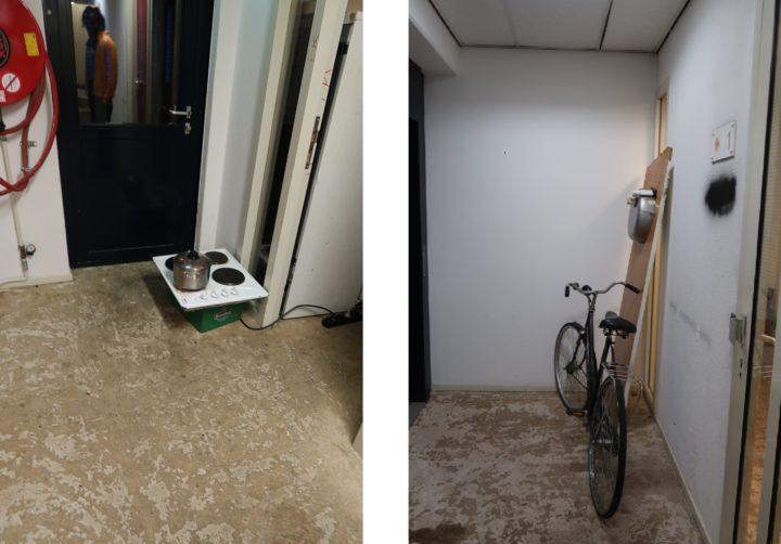 Provisorische kookplaatjes en fietsen in de gangen. Een deel van de badkamers is eruit gesloopt. De WC's en badkamers op andere verdiepingen worden volop gebruikt Foto: Bauke Schram/Elsevier