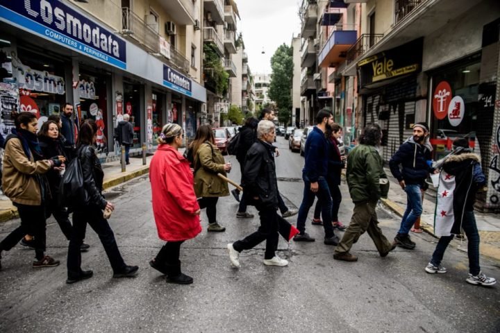 2016-12-03 11:05:58 epa05672099 (04/26) Migrants living in a squat house and their civil helpers march to join a demonstration in Exarchia neighbourhood of Athens, Greece, 03 December 2016. Approximately sixty thousand migrants were stranded in Greece after Macedonia closed its borders to the flow of illegal migration in March 2016. A group of activists helping refugees occupied a disused building in September 2015 in the Greek capital, which was the first of a number of abandoned houses, hotels and schools in the city center to be turned into refugee accommodation since. EPA/ZOLTAN BALOGH HUNGARY OUT PLEASE REFER TO ADVISORY NOTICE (epa05672095) FOR FULL FEATURE TEXT