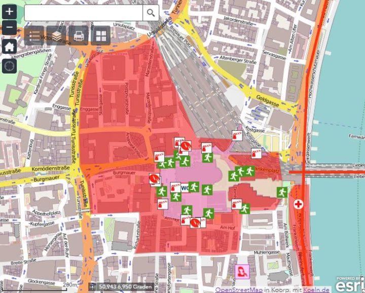 Een map op de website van Keulen wordt het feestgebied uitgezet, en aangegeven waar extra maatregelen zijn genomen Foto: Koeln.be/Esri