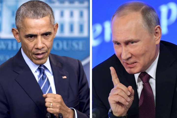 """2016-12-28 09:40:48 (COMBO)This combination of file photos shows US President Barack Obama speaking at the White House in Washington, DC on December 16, 2016 and Vladimir Putin speaking in Moscow on December 23, 2016. The US on December 29, 2016, fired back at Moscow over its meddling in the presidential election, announcing a series of tough sanctions against intelligence agencies, expulsions of agents and shutting down of Russian compounds on US soil. """"I have ordered a number of actions in response to the Russian government's aggressive harassment of US officials and cyber operations aimed at the US election,"""" Obama said. / AFP PHOTO / Saul LOEB AND Natalia KOLESNIKOVA"""