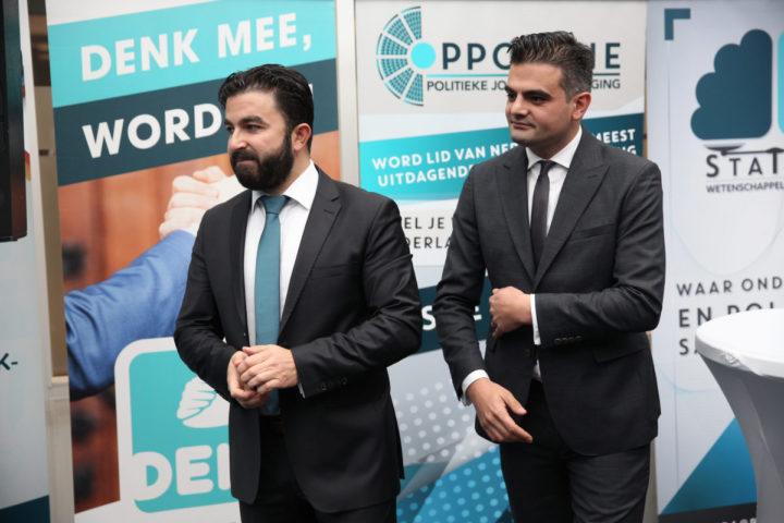 2016-11-14 14:01:18 ROTTERDAM - Selcuk Ozturk en politiek leider Tunahan Kuzu (R) tijdens de presentatie van het verkiezingsprogramma van DENK. ANP ARIE KIEVIT