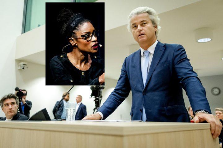 2016-11-23 16:48:57 SCHIPHOL - Geert Wilders in de rechtbank op Schiphol in de zaak rond de minder Marokkanen-uitspraken van de PVV-leider. Wilders maakt gebruik van zijn recht op het laatste woord in het proces. ANP ROBIN VAN LONKHUIJSEN