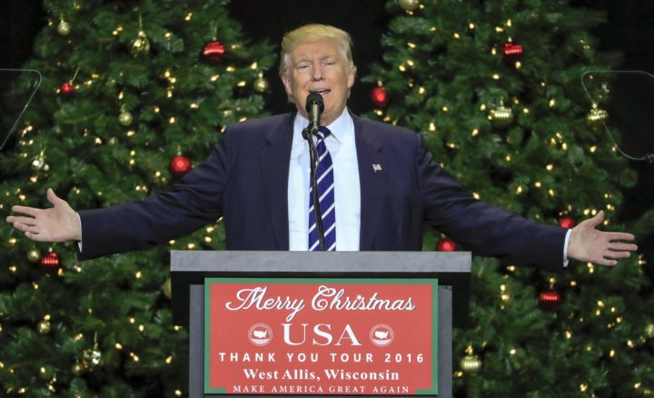 2016-12-13 19:43:15 epa05674634 US President-elect Donald Trump gestures as he speaks at a 'Thank You Tour' rally at the Wisconsin State Fair Exposition Center in West Allis, Wisconsin, USA, 13 December 2016. Trump and vice president-elect Mike Pence have been appearing before crowds across the country thanking them for their support in the presidential election. EPA/TANNEN MAURY