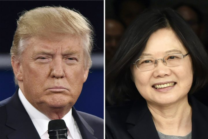 """2016-12-03 18:52:54 (FILES) This file photo taken on December 03, 2016 shows (FILES) This combo of file photos shows Republican presidential candidate Donald Trump (L) in St. Louis, Missouri on October 9, 2016 and Taiwan's President Tsai Ing-wen in Panama City on June 27, 2016. President-elect Donald Trump's controversial telephone conversation with the leader of Taiwan was just a """"courtesy call,"""" US Vice President-elect Mike Pence said December 4, 2016. """"It was nothing more than taking a courtesy call from a democratically elected leader,"""" Pence told ABC News, speaking about the Friday call between Trump and Taiwan's Tsai Ing-wen, which broke decades of US diplomatic policy and risks creating a serious rift with China. / AFP PHOTO / STAFF"""