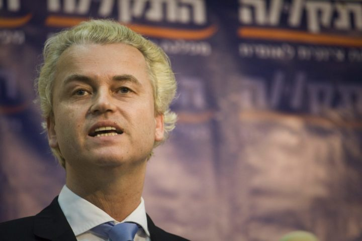 2010-12-05 17:32:27 epa02481169 Dutch right-wing PVV party leader Geert Wilders speaks during a conference organized by the Israeli 'Hatikva' (Hope in Hebrew) party, in Tel Aviv, Israel, on 05 December 2010. Wilders is on a two day visit to Israel. EPA/Oren Ziv