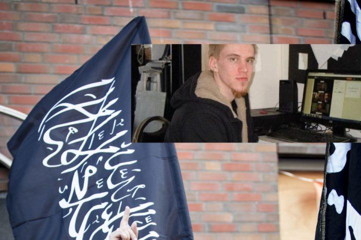 2014-07-24 00:00:00 DEN HAAG - Jihadist Lofti S. (L) alias Abu Hanief tijdens een pro IS-demonstratie n de Haagse Schilderswijk. De Nederlander die een aanslag heeft gepleegd in het Iraakse Fallujah is Lofti S. uit Amsterdam. ANP