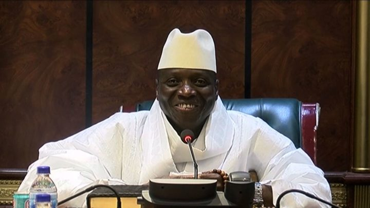 "2016-12-03 00:00:00 An image grab taken on December 3, 2016 from a video of the Gambia and Television Services (GRTS) broadcasted on December 2, 2016, in Banjul shows outgoing Gambian President Yahya Jammeh speaking during a press conference after being defeated during the presidential election. Jammeh conceded defeat to opposition leader Adama Barrow on December 2, 2016 accepting that Gambians had ""decided that I should take the backseat"". The Gambia's President-elect Adama Barrow was to hold talks with his coalition the day after to plot his transition to power, following a shock election victory that ended the 22-year rule of Yahya Jammeh. / AFP PHOTO / GRTS - Gambia Radio and Television Services / Handout"