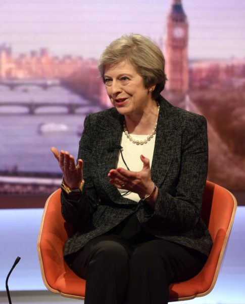 2017-01-22 00:00:00 epa05741044 A handout photo made available by the BBC on 22 January 2017, showing British Prime Minister Theresa May (R) talking with former BBC Political Editor Andrew Marr (unseen) at The Andrew Marr Show in London, Britain. British media reports on 22 January state May has confirmed she will meet with new US President Donald J. Trump for talks in Washington, USA on 27 January. EPA/BBC / JEFF OVERS / HANDOUT HANDOUT EDITORIAL USE ONLY/NO SALES