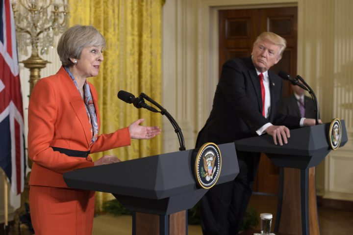 2017-01-27 15:47:25 Britain's Prime Minister Theresa May speaks during a joint press conference with US President Donald Trump in the East Room of the White House on January 27, 2017 in Washington, DC. / AFP PHOTO / MANDEL NGAN