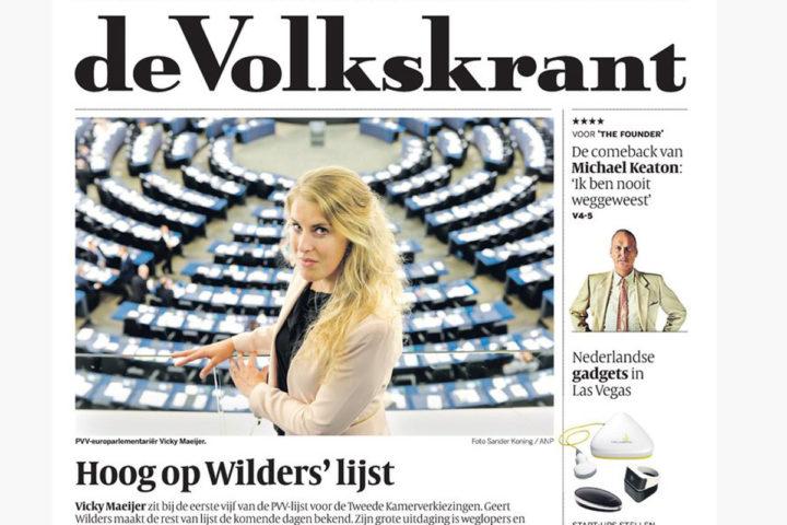 De voorpagina van de Volkskrant
