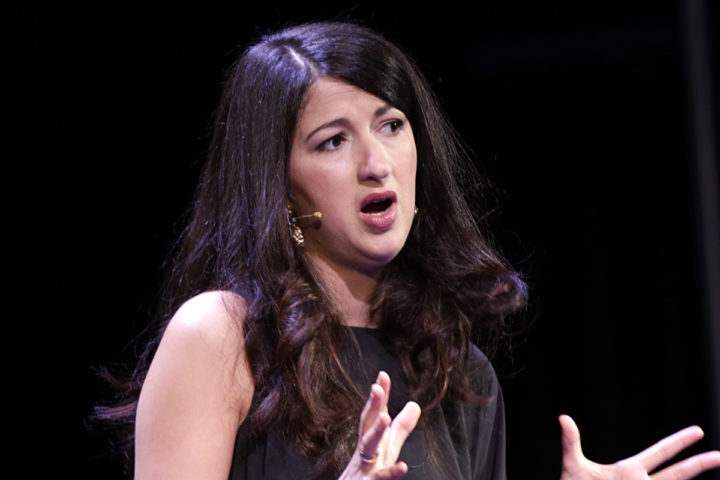 2015-05-26 17:26:24 epa04769060 Morocco-born French journalist Zineb El Rhazoui, a columnist for Paris-based satirical magazine Charlie Hebdo speaks at the Oslo Freedom Forum, in Oslo, Norway, 26 May 2015. EPA/VIDAR RUUD NORWAY OUT