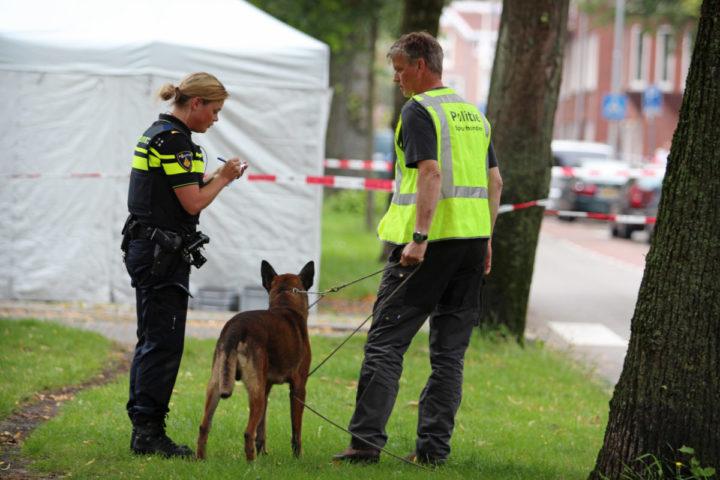 2015-08-15 15:33:09 GRONINGEN - Politiemedewerkers doen onderzoek op de plek waar een man is doodgeschoten. Hij stierf ter plaatse aan zijn verwondingen. De schutter is nog voortvluchtig. ANP GINOPRESS