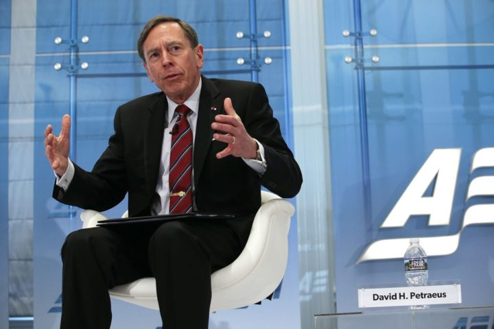 "2017-02-03 00:00:00 WASHINGTON, DC - FEBRUARY 03: Former CIA Director and retired Army Gen. David Petraeus participates in a discussion February 3, 3017 at American Enterprise Institute for Public Policy Research (AEI) in Washington, DC. The AEI held a discussion on ""Lost in translation: The unsung war heroes of Iraq and Afghanistan."" Alex Wong/Getty Images/AFP == FOR NEWSPAPERS, INTERNET, TELCOS & TELEVISION USE ONLY =="