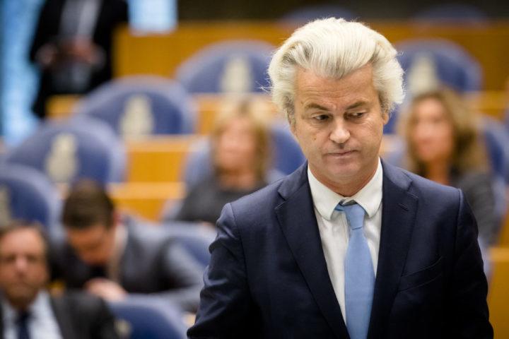 2017-01-31 14:30:47 DEN HAAG - PVV-fractievoorzitter Geert Wilders tijdens het vragenuur in de Tweede Kamer. ANP BART MAAT