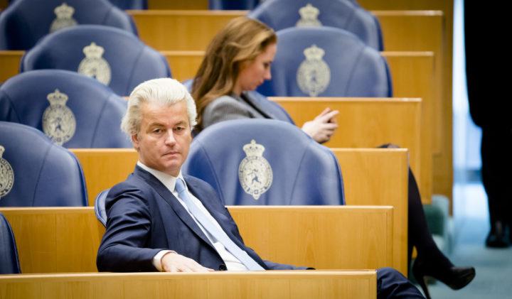 2017-02-21 14:53:08 DEN HAAG - PVV-fractievorzitter Geert Wilders en Fleur Agema (PVV) tijdens het vragenuur in de Tweede Kamer. ANP BART MAAT