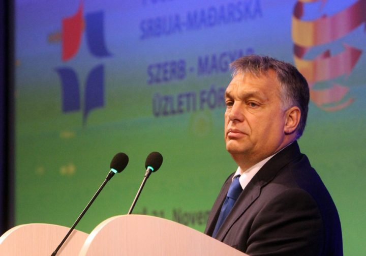 2016-11-21 07:56:24 epa05641240 Hungarian Prime Minister Viktor Orban speaks during the Serbian-Hungarian business forum in Nis, Serbia, 21 November 2016. EPA/DJORDJE SAVIC
