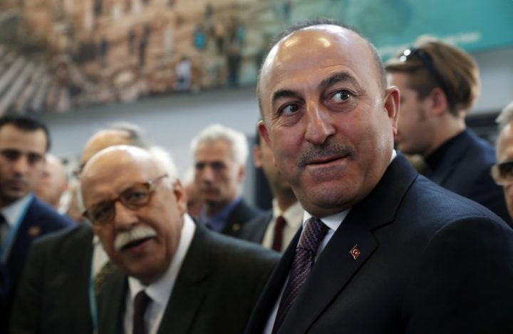 2017-03-08 10:31:14 epaselect epa05835835 Turkish Ministers of Foreign Affairs, Mevlut Cavusoglu (R) and Turkish Minister of Culture and Tourism, Nabi Avci (L) visit the Turkish stands at the International Travel Trade Show ITB in Berlin, Germany, 08 March 2017. Around 10,000 exhibitors from 187 countries are presenting their new offers in the travel industry from 08 until 12 March 2017. EPA/FELIPE TRUEBA