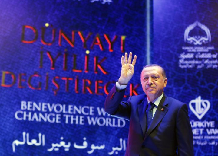 2017-03-12 13:26:40 epa05844049 A handout photo made available by the Turkish President Press office shows, Turkish President Recep Tayyip Erdogan waving to his supporters during the International Benevolence Awards ceremony in Istanbul, Turkey, 12 March 2017. The Turkish parliament on 21 January approved a reform of the constitution to change the country's parliamentarian system of governance into a presidential one, which the opposition denounced as giving more power to Turkish president Recep Tayyip Erdogan. A referendum on the amendments is expected to be held in April.  EPA/TURKISH PRESIDENT PRESS OFFICE HANDOUT  HANDOUT EDITORIAL USE ONLY/NO SALES