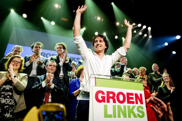 2017-03-16 00:29:27 AMSTERDAM - Fractievoorzitter Jesse Klaver tijdens de verkiezingsavond van GroenLinks in De Melkweg na de Tweede Kamerverkiezingen. ANP ROBIN VAN LONKHUIJSEN