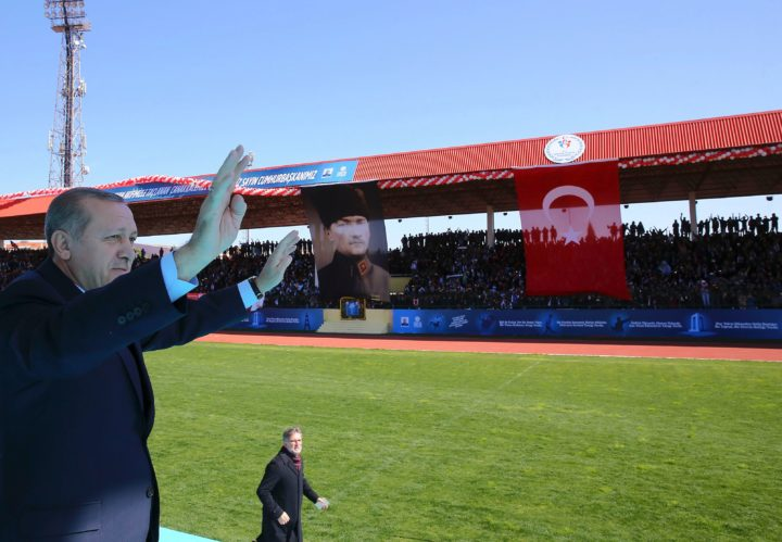 "2017-03-18 09:18:56 A handout made available by the Turkish Presidential Press Service on March 18, 2017, shows Turkish President Recep Tayyip Erdogan waving as he attends a ceremony marking the 102nd anniversary of the Canakkale Victory at the 18 March Stadium in Canakkale, western Turkey. / AFP PHOTO / KAYHAN OZER / RESTRICTED TO EDITORIAL USE - MANDATORY CREDIT ""AFP PHOTO / TURKISH PPRESIDENTIAL PRESS OFFICE"" - NO MARKETING NO ADVERTISING CAMPAIGNS - DISTRIBUTED AS A SERVICE TO CLIENTS"