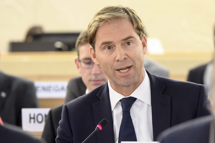 2016-10-21 10:09:37 epa05595791 British Member of Parliament, Tobias Ellwood, Parliamentary Under Secretary of State for the Britsh Foreign and Commonwealth Office (FCO) (Minister for the Middle East and Africa) speaks, during the Human Rights Council that holds its 25th Special Session on the human rights situation on Aleppo, at the United Nations Human Rights Council at the UN headquarters in Geneva, Switzerland, 21 October 2016. EPA/MARTIAL TREZZINI