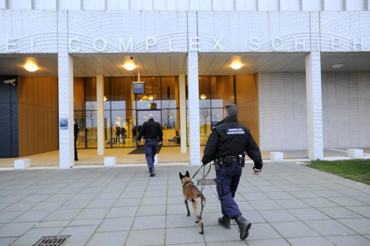 2015-11-30 09:38:15 SCHIPHOL - Marechaussee met speurhond bij de rechtbank. De zussen en ex-vriendin van Willem Holleeder getuigen in het hoger beroep van het grote liquidatieproces Passage. ANP EVERT ELZINGA