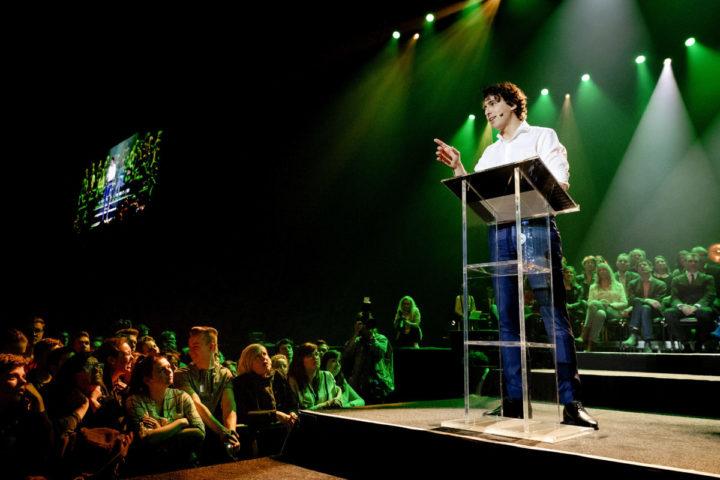 2017-03-09 22:24:22 AMSTERDAM - Jesse Klaver tijdens De Meetup van GroenLinks, in aanloop naar de Tweede Kamerverkiezingen. ANP ROBIN VAN LONKHUIJSEN