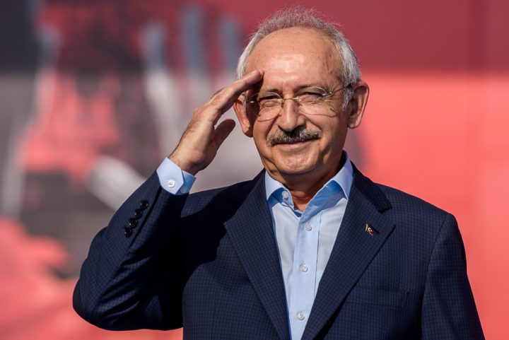 2016-08-07 17:40:23 Turkey's party Republican People's Party (CHP) leader Kemal Kilicdaroglu salutes supporters on August 7, 2016 in Istanbul during a rally against failed military coup on July 15. Hundreds of thousands of people gathered in Istanbul today for a pro-democracy rally organised by the ruling party, bringing to an end three weeks of demonstrations in support of President Recep Tayyip Erdogan after last month's failed coup. / AFP PHOTO / OZAN KOSE