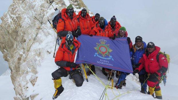 De 'Mountain Leaders', berggidsen die behoren tot de elitetroepen van het Korps Mariniers op de Manaslu - bron: Ministerie van Defensie