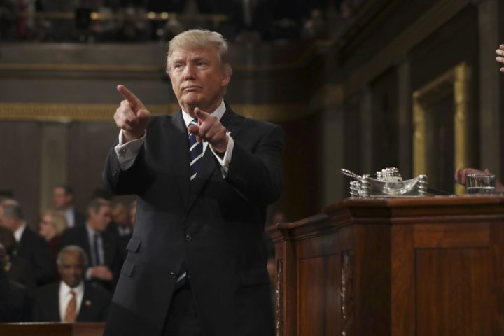 2017-02-28 22:09:24 epaselect epa05821918 US President Donald J. Trump reacts after delivering his first address to a joint session of Congress from the floor of the House of Representatives in Washington, DC, USA, 28 February 2017. Traditionally the first address to a joint session of Congress by a newly-elected president is not referred to as a State of the Union. EPA/JIM LO SCALZO / POOL