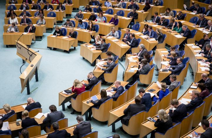 2017-02-23 18:59:53 DEN HAAG - Een overzicht van de plenaire zaal van de Tweede Kamer tijdens de stemmingen. ANP BART MAAT