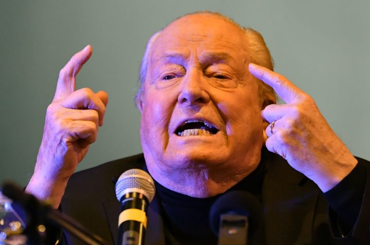 2017-01-21 17:30:21 Jean-Marie Le Pen, founder of France's far-right National Front (FN), gestures as he speaks on January 21, 2017 during a meeting at Palavas-Les-Flots, southern France. / AFP PHOTO / PASCAL GUYOT