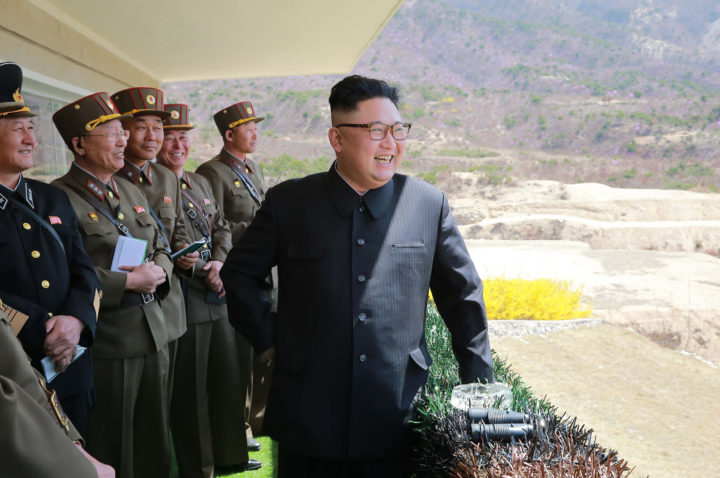 """2017-04-14 09:50:16 This undated picture released from North Korea's official Korean Central News Agency (KCNA) on April 14, 2017 shows North Korean leader Kim Jong-Un (R) inspecting the """"Dropping and Target-striking Contest of KPA Special Operation Forces - 2017"""" at an undisclosed location in North Korea. North Korean leader Kim Jong-Un has overseen a special forces commando operation, state media said on April 13, as tensions soar with Washington over Pyongyang's nuclear programme. / AFP PHOTO / KCNA VIA KNS / STR / South Korea OUT / REPUBLIC OF KOREA OUT ---EDITORS NOTE--- RESTRICTED TO EDITORIAL USE - MANDATORY CREDIT """"AFP PHOTO/KCNA VIA KNS"""" - NO MARKETING NO ADVERTISING CAMPAIGNS - DISTRIBUTED AS A SERVICE TO CLIENTS THIS PICTURE WAS MADE AVAILABLE BY A THIRD PARTY. AFP CAN NOT INDEPENDENTLY VERIFY THE AUTHENTICITY, LOCATION, DATE AND CONTENT OF THIS IMAGE. THIS PHOTO IS DISTRIBUTED EXACTLY AS RECEIVED BY AFP. /"""