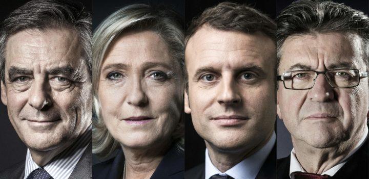 De kandidaten (vlnr): Fillon, Le Pen, Macron en Melenchon - bron:AFP