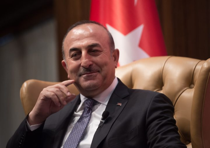 "2017-03-21 16:02:57 Turkish Foreign Minister Mevlut Cavusoglu looks on during a discussion on ""Turkey-US Strategic Partnership: Looking to the Future"" at the National Press Club in Washington, DC, on March 21, 2017. / AFP PHOTO / NICHOLAS KAMM"