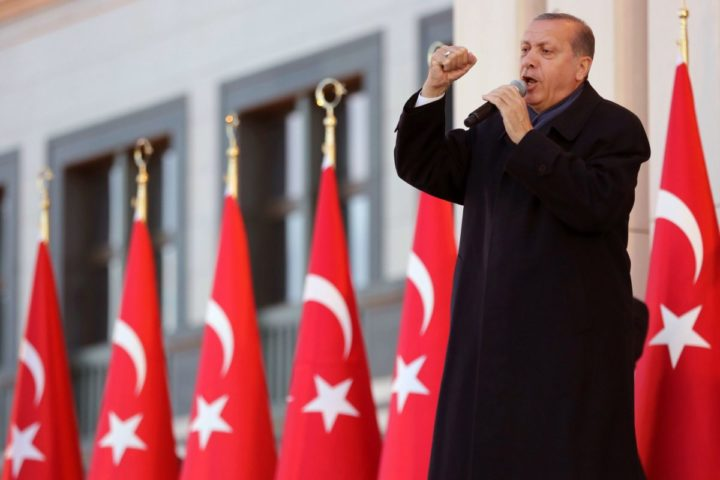 2017-04-17 17:57:56 Turkish president Recep Tayyip Erdogan gestures as he delivers a speech to his supporters at the Presidential Palace in Ankara, April 17, 2017 following the results in a nationwide referendum that will determine Turkey's future destiny. Erdogan on April 17 said Turkey could hold a referendum on its long-stalled EU membership bid after Turks voted to approve expanding the president's powers in a plebiscite. Narrowly won by President Recep Tayyip Erdogan, the referendum asked voters to boost the powers of the Turkish head of state -- a move that rights watchdogs have said could fatally weaken democracy in the linchpin country. / AFP PHOTO / ADEM ALTAN