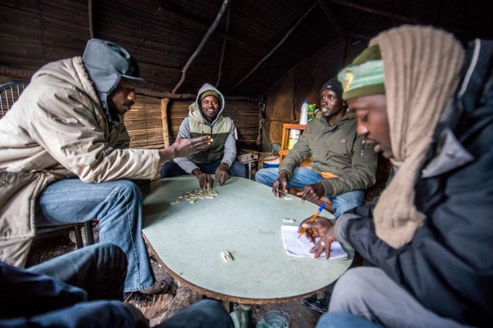 2015-12-24 17:14:55 epa05080291 Refugees playing dominoes the day before Christmas in the camp called 'The Jungle' in the port of Calais, France, 24 December 2015. Part of Calais migrant camp are Christians and celebrate Christmas. Currently the camp in Calais is housing around 1500 migrants who are looking to cross the English Channel to Britain. Among the migrants of the 'Jungle' are refugees and asylum seekers from Afghanistan, Darfur, Syria, Iraq and Eritrea. EPA/STEPHANIE LECOCQ