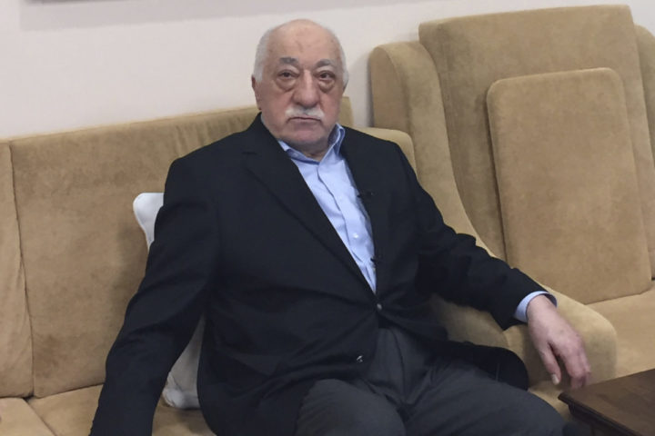"""2016-07-18 15:00:12 (FILES) This file photo taken on July 18, 2016 shows Turkish cleric and opponent to the Erdogan regime Fethullah Gülen at his residence in Saylorsburg, Pennsylvania. US-based Turkish cleric Fethullah Gulen said he was """"shocked and deeply saddened"""" by the assassination of Russia's ambassador to Turkey in the capital Ankara, in a statement late December 19, 2016. A Turkish policeman crying """"Aleppo!"""" and """"Allahu Akbar!"""" fatally shot Russian Ambassador Andrei Karlov while he was addressing visitors to a photo exhibition earlier in the day. / AFP PHOTO / Thomas URBAIN"""