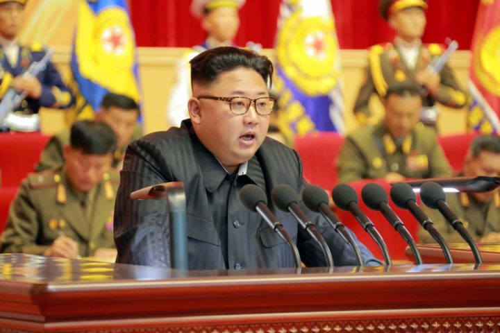 2016-08-04 22:21:48 This undated picture released from North Korea's official Korean Central News Agency (KCNA) on August 4, 2016 shows North Korean leader Kim Jong-Un (C) delivering a speech at the 3rd Meeting of KPA Activists in O Jung Hup-led 7th Regiment Title Movement at the April 25 House of Culture in Pyongyang. / AFP PHOTO / KCNA / KCNA